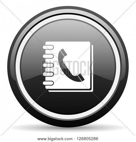 phonebook black circle glossy web icon