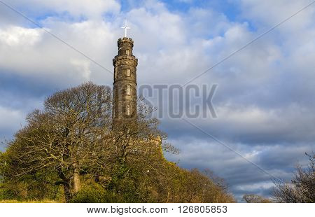 A view of the Nelson Monument on Calton Hill in Edinburgh Scotland.