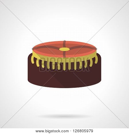 Round brown soft foot stool with a yellow elements. Upholstered furniture for home recreation. Fashionable interior decor. Flat color vector icon. Web design element for site, mobile and business.