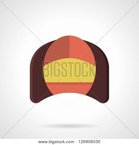 Corner brown soft arm chair with a red back and yellow seat. Comfortable furniture for cafe, restaurant, hotel and home. Flat color vector icon. Web design element for site, mobile and business.