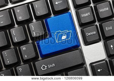 Conceptual Keyboard - Blue Key With Folder And Lock Symbol