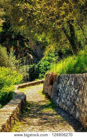 Cobblestones track in the Greenway path at Lago di Como (Italy)