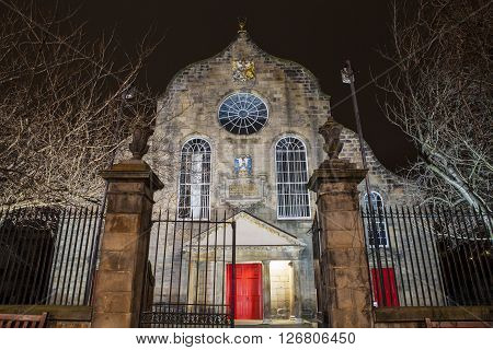 The historic Canongate Kirk along the Royal Mile in Edinburgh Scotland.