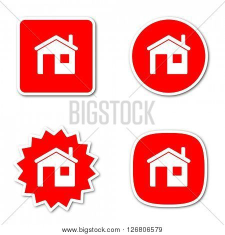 house simple red web internet icon set flat design sticker tag