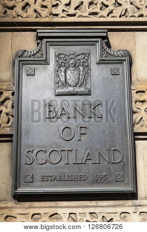 EDINBURGH SCOTLAND - MARCH 10TH 2016: The sign on the main headquarters of the Bank of Scotland in Edinburgh on 10th March 2016.