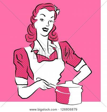 Pink Woman Coocking, Vintage Artwork.