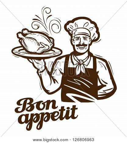 happy chef with a tray in hand isolated on white background