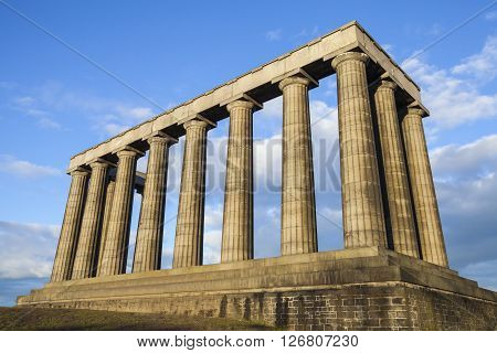 A view of the National Monument of Scotland situated on Calton Hill in Edinburgh. It is dedicated Scottish soldiers and Sailors who died fighting in the Napoleonic Wars.