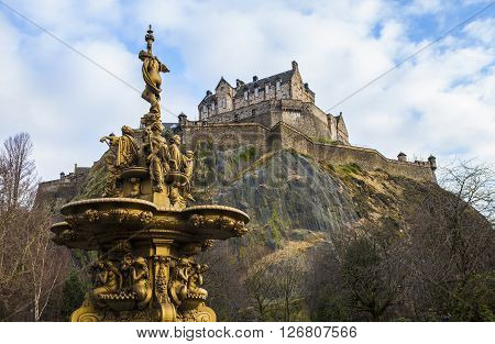 A view of the Ross Fountain and Edinburgh Castle in Scotland.