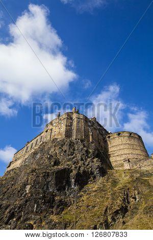 A view of the beautiful Edinburgh Castle ontop of Castle Hill in Edinburgh Scotland.