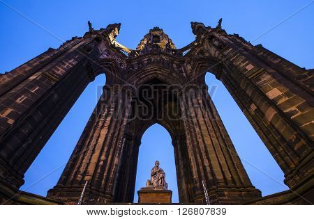 view of the impressive Scott Monument located on Princes Street in Edinburgh Scotland.