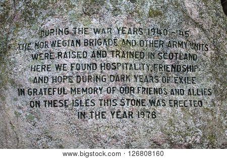 EDINBURGH SCOTLAND - MARCH 10TH 2016: The text on the Norwegian War Memorial Stone in Edinburgh on 10th March 2016.