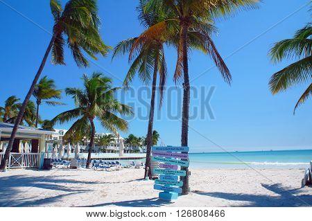 Sunny South Beach of Key West near Atlantic Ocean