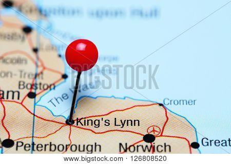 Kings Lynn pinned on a map of UK
