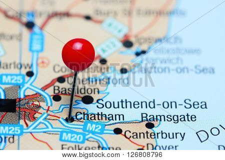Chatham pinned on a map of UK