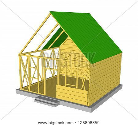 Vector Ecology green house. House in cut. Detailed modern house interior. Rooms with furniture.  3d style vector illustration. 1