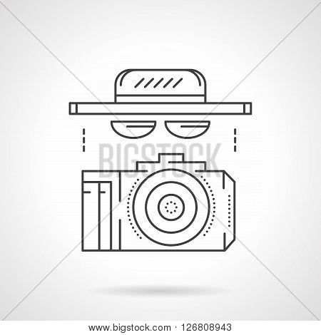 Hat, sunglasses and camera. Accessories and outfit for photographing, reporter, journalism or spy. Flat line style vector icon. Single design element for website, business.
