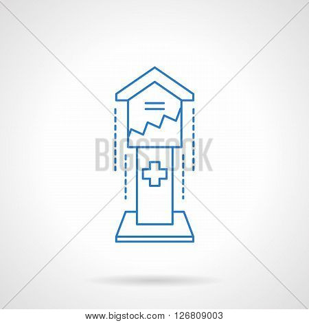Box for contributions on a pedestal. Financial aid. Fund investments for church. Charity concept. Flat blue line style vector icon. Single design element for website, business.