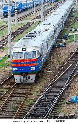 GOMEL BELARUS - APRIL 14 2016: Top view of moving diesel train Gomel Belarus