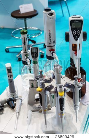 MOSCOW RUSSIA - April 12 2016: The 14th International Exhibition of laboratory equipment and chemical reagents in Moscow. Medical and laboratory equipment at the exhibition. Focus on of laboratory instruments