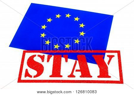 European Union flag branded with a STAY Rubber Stamp in reference to the upcoming referendum on Britains membership of the European Union.