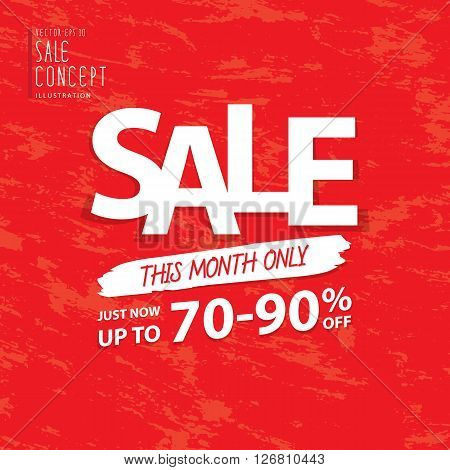 Sale this month heading design for banner or poster. Sale and discounts. Vector illustration