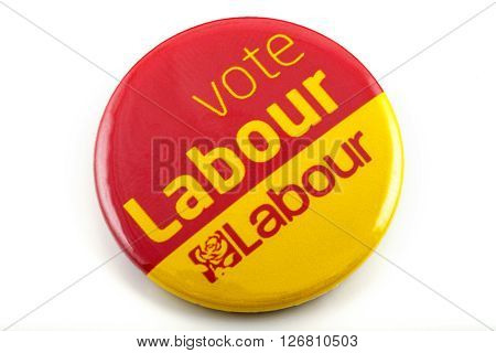 LONDON UK - MARCH 3RD 2016: A VOTE LABOUR pin badge over a white background on 3rd March 2016.