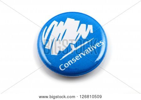 LONDON UK - MARCH 3RD 2016: A Conservatives (Conservative Party) pin badge over a white background on 3rd March 2016.