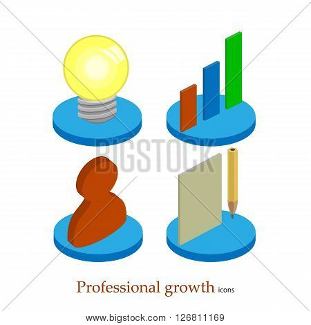 Flat professional growth icon. Startup concept. Project development. Vector isometric illustration