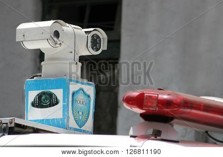 HYDERABAD,INDIA-APRIL 22:Closeup photo of CCTV camera fitted on a Police Vhicle following Hindu God Hanuman shoba yatra procession on April 22,2016 in Hyderabad,India