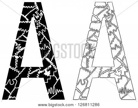 On this illustration is black and white version of letter a.
