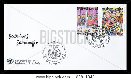 UNITED NATIONS - CIRCA 1983 : Cancelled postage stamp printed by United Nations, that shows Human rights.