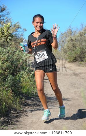 Crystal Cove California/USA-April 16 2016:Runner in the Heroes 6k Trail race
