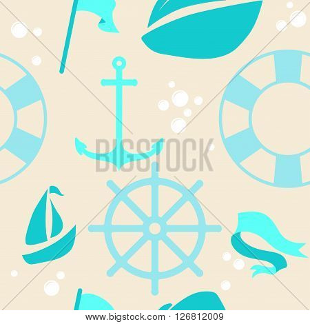 Sea seamless pattern. Beautiful pattern for a children's textiles. Beautiful pattern. Vector Illustration.