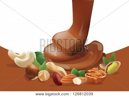 Vector Realistic Liquid Melted Pouring Chocolate and Different Nuts. Isolated on White and Brown Background Template