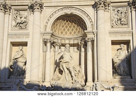 Rome, Italy - December 20, 2012: Sculptures Of The Famous Trevi Fountain In Rome, Italy