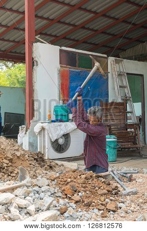 Bangkok Thailand - February 20 2016 : Unidentified worker dig a floor for build a home.