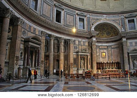 Rome, Italy - December 20, 2012:  Inside The Pantheon - One Of The Most Famous Building In Rome, Ita