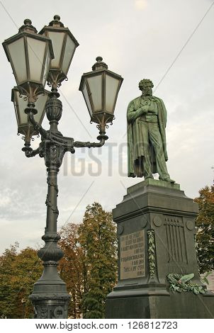 Monument To Russian Poet Alexander Pushkin On Pushkin Square, Moscow, Russia