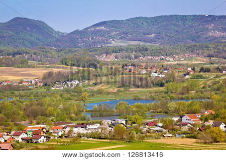 Lake and green hills of Zagorje northern Croatia