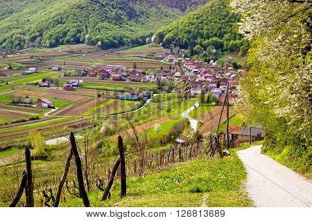 Idyllic mountain village of Prigorec near Ivanscica Zagorje Croatia