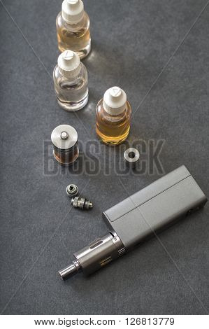 e-cigarettes with lots of different re-fill bottles from above