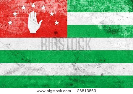 Flag Of Abkhazia With A Vintage And Old Look