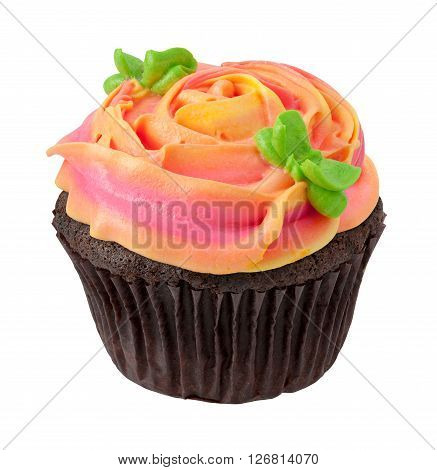 Chocolate Cupcake with Rose Shaped Frosting. Full focus from front to back. The image is a cut out isolated on a white background with a clipping path.