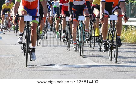 Racing Bikes Led By Cyclists During The Road Race