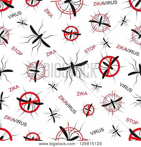 Zika virus seamless pattern wallpapers. Zika mosquito vector illustration. Zika virus mosquito bite. Aedes Aegypti seamless pattern texture background.