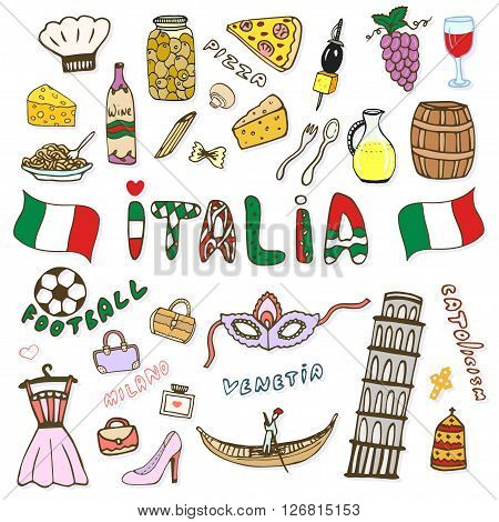 Doodle hand sketch collection of Italy icons. Italy culture elements for design. Vector color sketches travel set. Handwriting Italia lettering in italian language - Italy.