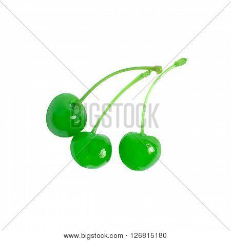 Three green maraschino cherries isolated on white background