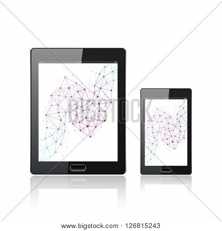 Modern digital tablet PC with mobile smartphone isolated on the white. Mobile application interface. Molecule and communication background. Science and tecnology concept. Vector Illustration.