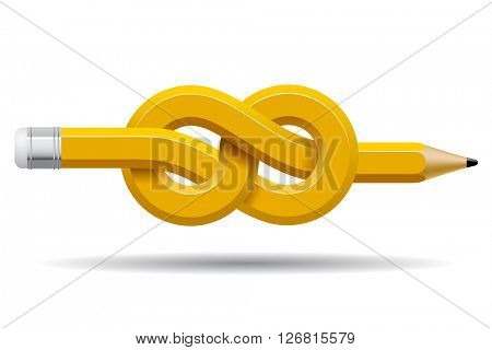 Pencil distorted and tied in a knot isolated on white. Business and Education symbol and icons. Conceptual vector design